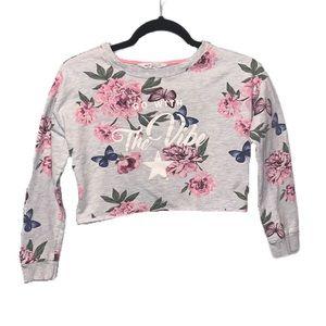 H&M Gray Floral Vibe Cutoff Sweatshirt - 10/12